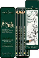Набор чернографитных карандашей  Faber-Castell CASTELL 9000 Jumbo в метал. коробке 5 шт. разных тверд, 119305