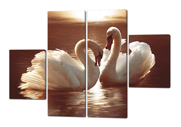Модульная картина Лебеди в пруду