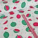 Хлопковая ткань польская, арбузы маленькие красно-зеленые и черные семечки на белом, фото 2