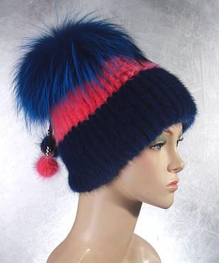 Женская меховая шапка Фонарик цветной из норки