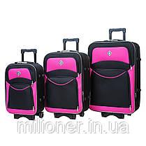 Набор чемоданов и кейс 4в1 Bonro Style черно-розовый, фото 3