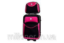 Набор чемоданов и кейс 4в1 Bonro Style черно-розовый, фото 2