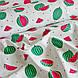Хлопковая ткань польская, арбузы маленькие красно-зеленые и черные семечки на белом, фото 4