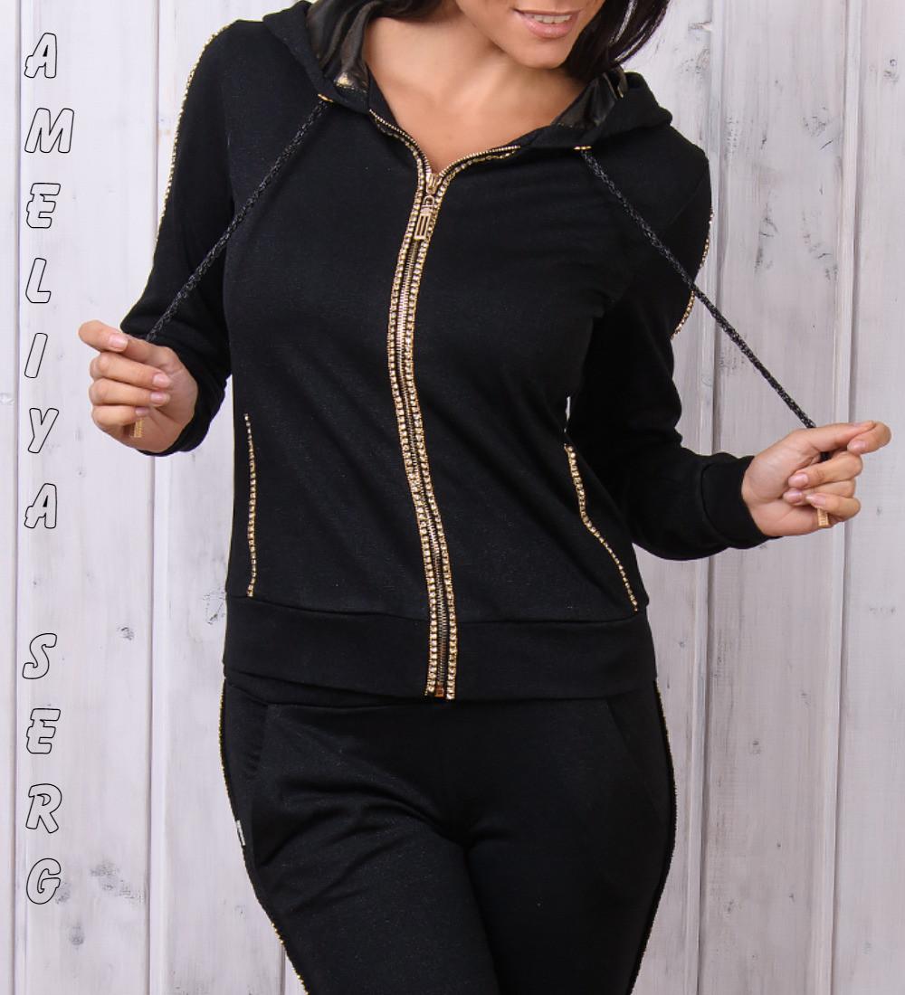 64a1adbd7e5 Стильный гламурный спортивный костюм женский Турция однотоный на змейке  чёрный XS S M L XL - Оптово-
