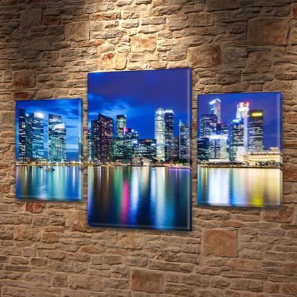 Модульная картина Небоскребы у воды, на Холсте син., 45х70 см, (30x20-2/45x25), фото 2