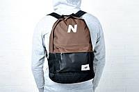 Модный вместительный рюкзак New Balance, городской портфель, цвет коричневый