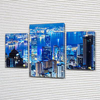 Триптих картина Мегаполис  купить в трех размерах на Холсте син., 45х70 см, (30x20-2/45x25)