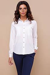 Офисная женская белая блузка с длинными рукавами и накладными карманами на груди Кери д/р