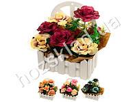"""Искусственные цветы в горшке """"Розы на окне"""" 23*16*8см"""