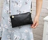 Лаковая сумочка-клатч с ремешком через плечо черная, фото 5