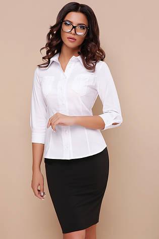 7d83af640e0 Строгая женская деловая белая блузка приталенная с карманами блуза Марти  3 4