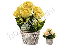 """Искусственные цветы в горшке """"Розы в корзинке"""" 20cм"""