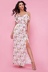 Эффектный летний длинный сарафан в полоску и цветы с разрезом от бедра Ариэлла розовый