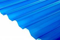 Прозрачный кровельный ПВХ лист Salux W HR 70/18 1,8х0,9, синяя прозрачная трапеция