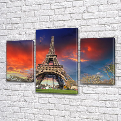 Картины на кухню Башня в небо, на Холсте син., 45х70 см, (30x20-2/45x25)