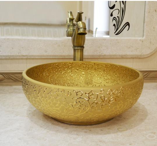 Чаша накладная для ванной комнаты в золоте 9-011