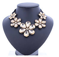 Ожерелье Стекляные цветы желтые/бижутерия/цвет ленты черный/цвет искуственных камней желтый
