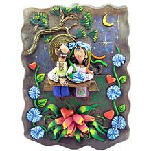 Панно из керамики Казак и казачка за столом