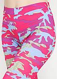 Жіночі, Капрі, Бриджі для фітнесу з камуфляжним принтом (рожевий, малиновий), фото 3