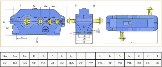 Габаритные размеры редуктора Ц3У-250 и 1Ц3У-250 чертеж