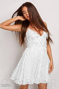 Красивое платье мини юбка солнце клеш без рукав белое