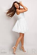 Красивое платье мини юбка солнце клеш без рукав белое, фото 2