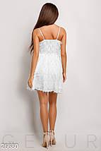 Красивое платье мини юбка солнце клеш без рукав белое, фото 3