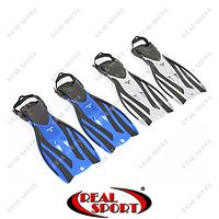 Ласты с открытой пяткой (пяточный ремень) F52 (р-р S-XL, 38-45, серый, синий)