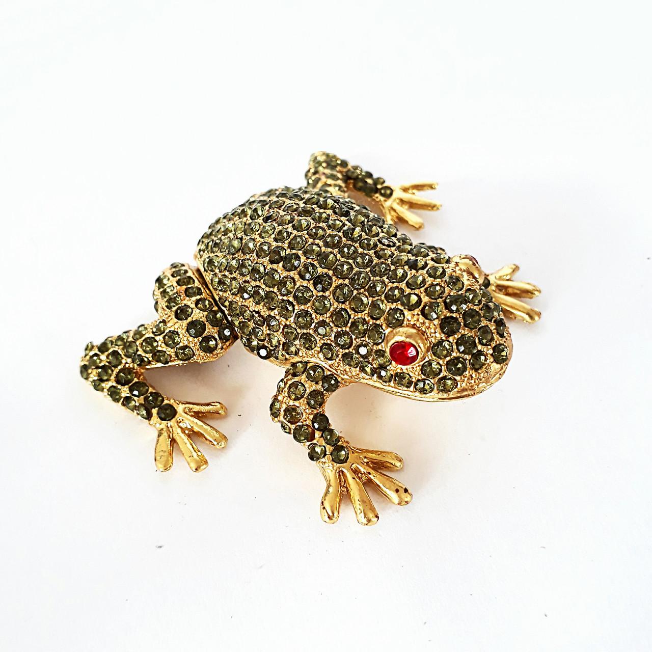 Фигурка - шкатулка Лягушка (6*7 см) металл, стразы