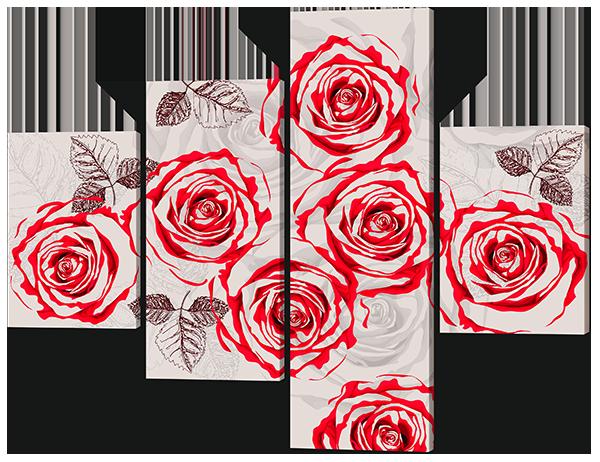 Модульная картина Розы. Красное с серым