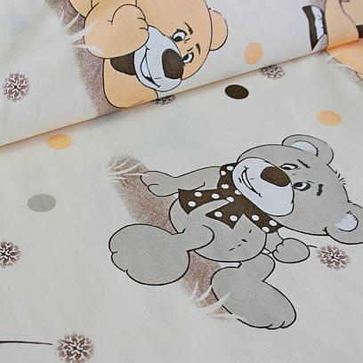 Хлопковая ткань, Люкс, Купон мишка с одуванчиком с коралловым и серым горошком на светло-бежевом