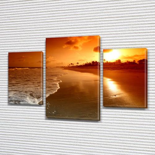 Картина модульная Вечерний берег моря на Холсте син., 45х70 см, (30x20-2/45x25)