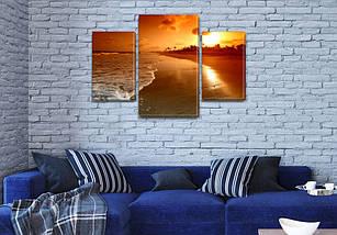 Картина модульная Вечерний берег моря на Холсте син., 45х70 см, (30x20-2/45x25), фото 3