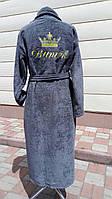 Серых махровый халат с вышивкой  размер XXL