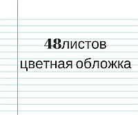 Тетрадь цветная обложка 48л. линия
