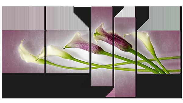 Модульная картина Калы с фиолетовым отливом