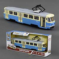 Игрушечный Трамвай 9708 С (24) подсветка, звук, открываются двери, инерция, в коробке