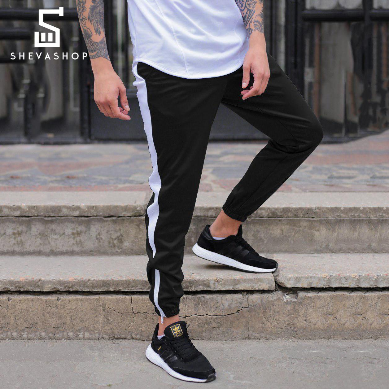 Спортивные штаны с лампасами мужские ТУР Rocky чёрные c белым
