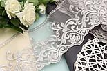 Кружево серого цвета, на сеточке, вышивка шёлковой нитью, ширина 13 см., фото 4