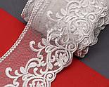 Кружево серого цвета, на сеточке, вышивка шёлковой нитью, ширина 13 см., фото 3