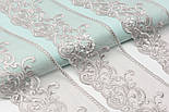 Кружево серого цвета, на сеточке, вышивка шёлковой нитью, ширина 13 см., фото 2