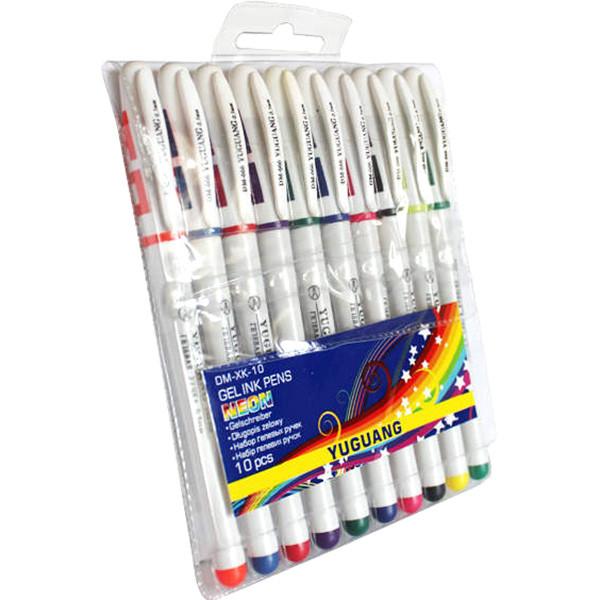 Ручка гелева, неон, набір 10 кольорів, білий корпус, Арт.888s10 (DM-66