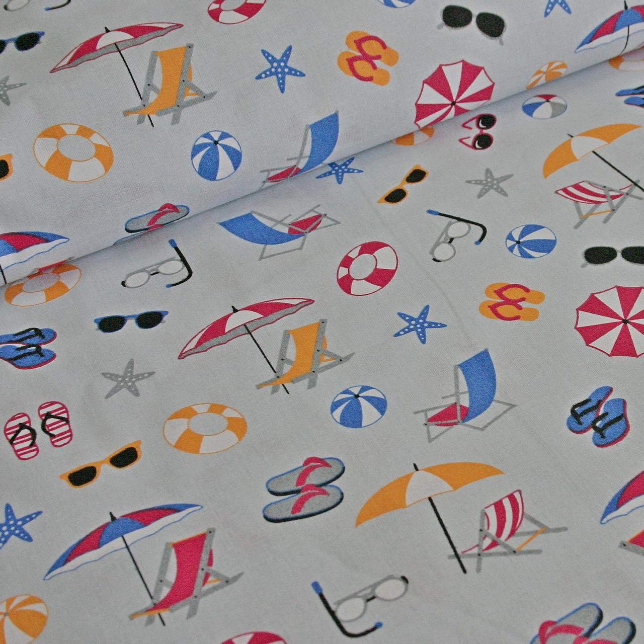 Хлопковая ткань польская пляж на сером