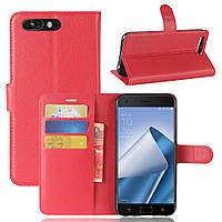 Чехол Asus Zenfone 4 Pro / ZS551KL 5.5'' книжка PU-Кожа красный