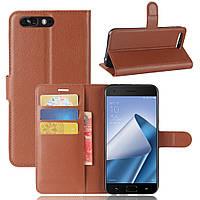 Чехол Asus Zenfone 4 Pro / ZS551KL 5.5'' книжка PU-Кожа коричневый