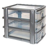 Комод 3 ящика формат А-4 прозрачно-серый