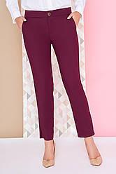 """Деловые женские прямые офисные брюки средней посадки """"Риор"""" бордовые"""