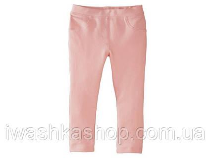 Розовые джеггинсы с серебристым принтом для девочки 1 - 2 года, размер 86 - 92, Lupilu