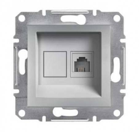 Розетка комп'ютерна на один вихід Алюміній Schneider Electric, фото 2