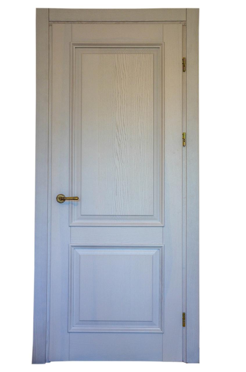 Двери массив ясень классика, цвет белый проявленная текстура